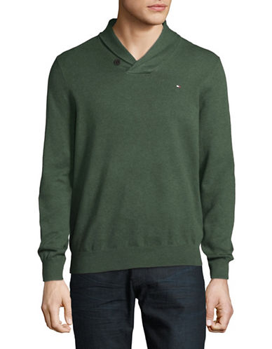 Tommy Hilfiger Signature Cotton Sweater-GREEN-Small