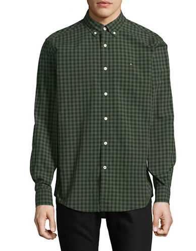 Tommy Hilfiger Tonal Check Cotton Sport Shirt-GREEN-Small