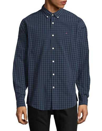 Tommy Hilfiger Tonal Check Cotton Sport Shirt-BLUE-Medium