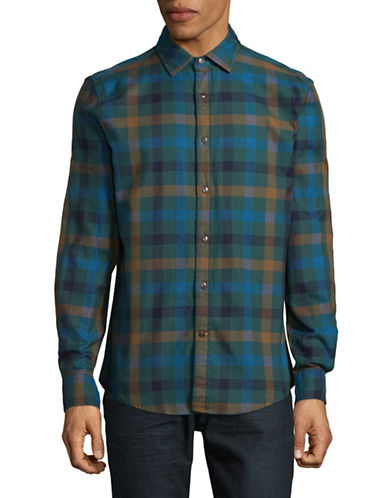 Tommy Hilfiger Benwick Plaid Cotton Sport Shirt-GREEN-Large