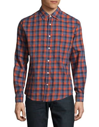 Tommy Hilfiger Plaid Sport Shirt-ORANGE-Large
