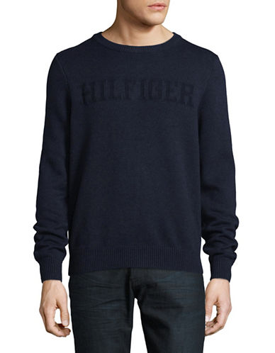 Tommy Hilfiger Stitched Logo Crew Neck Sweater-BLUE-Medium