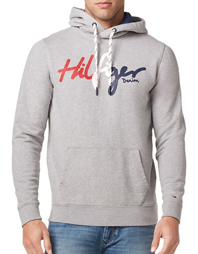 Tommy Jeans Logo Cotton Hoodie-GREY-Large
