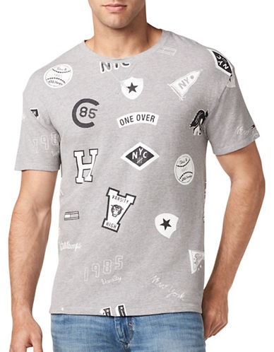 Tommy Jeans Badges Slim-Fit Cotton Tee-GREY-Medium 89410940_GREY_Medium