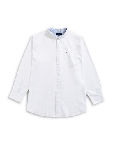 Tommy Hilfiger Capote Solid Sport Shirt-WHITE-3X Big