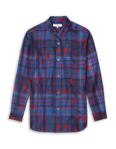 Tommy Hilfiger Tommy x Gigi Star-Plaid Silk Shirt-GIGI STAR-10
