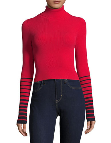 Tommy Hilfiger Rib-Knit Crop Sweater-RED-Large