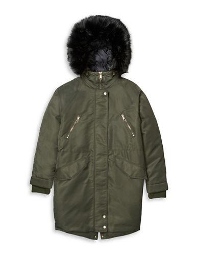 Tommy Hilfiger Tommy x Gigi Faux Fur Trim and Lining Parka Jacket-GREEN-Medium