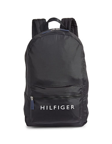 Tommy Hilfiger Logo Backpack-BLACK-One Size