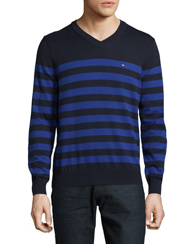 Tommy Hilfiger Signature Striped Sweater-NAVY-X-Large