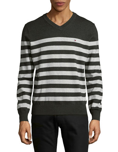 Tommy Hilfiger Signature Striped Sweater-LIGHT GREY-X-Large