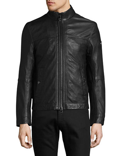 Tommy Hilfiger Leather Racer Jacket-BLACK-52