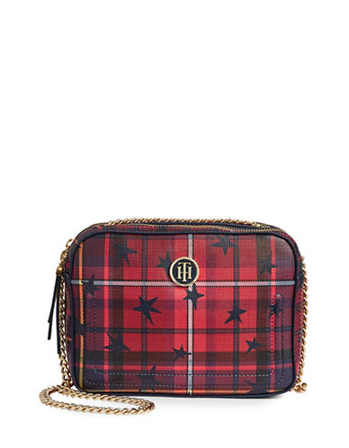Tommy Hilfiger Stars Plaid Camera Crossbody Bag-RED-One Size