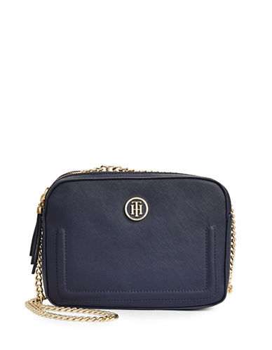 Tommy Hilfiger Chained Faux Leather Camera Bag-BLUE-One Size