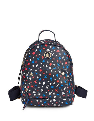 Tommy Hilfiger Star Print Saffiano Backpack-BLUE-One Size