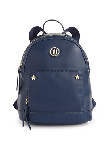 Tommy Hilfiger Star Trim Saffiano Backpack-BLUE-One Size
