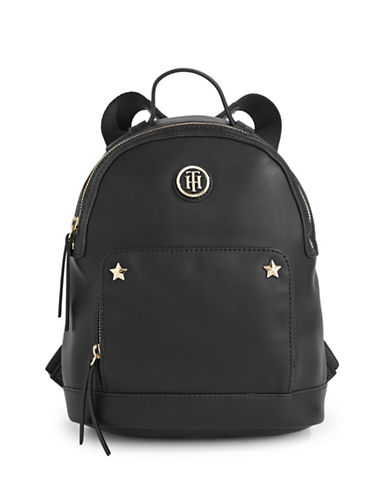 Tommy Hilfiger Star Trim Saffiano Backpack-BLACK-One Size