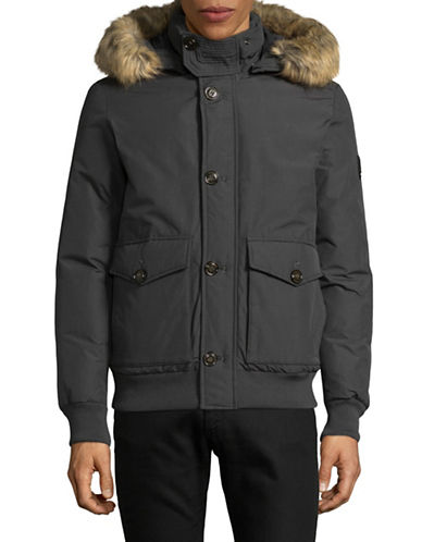 Tommy Hilfiger Down Bomber Jacket with Faux Fur Hood-GREY-Medium