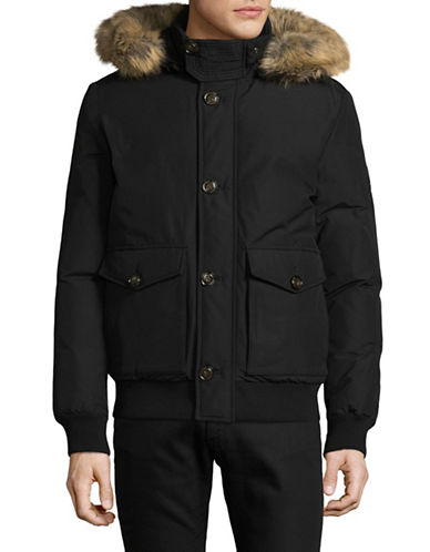Tommy Hilfiger Down Bomber Jacket with Faux Fur Hood-BLACK-X-Large