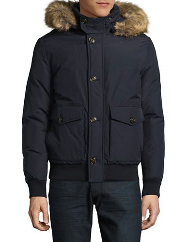 Tommy Hilfiger Down Bomber Jacket with Faux Fur Hood-BLUE-X-Large