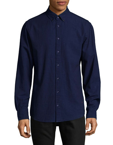 Tommy Hilfiger Embro Cotton Sport Shirt-INDIGO-Large