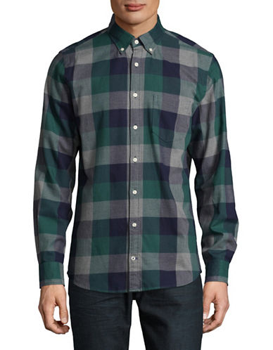 Tommy Hilfiger Checked Cotton Flannel Sport Shirt-BROWN-X-Large