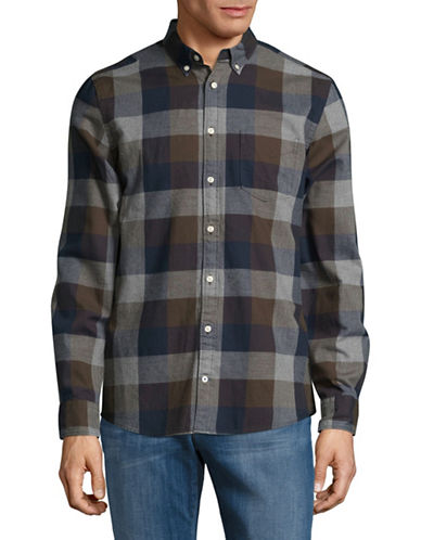 Tommy Hilfiger Checked Cotton Flannel Sport Shirt-DARK BROWN-Small