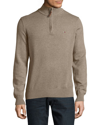 Tommy Hilfiger Zip Mock Neck Sweater-BROWN-X-Large
