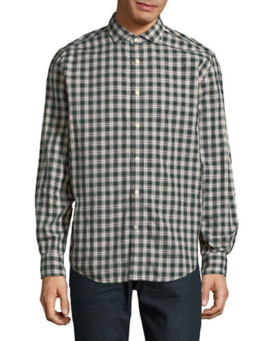 Tommy Hilfiger Clark Plaid Cotton Sport Shirt-GREEN-Medium