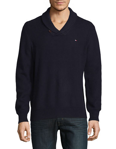 Tommy Hilfiger Crossover Cotton Pullover-NAVY-Medium