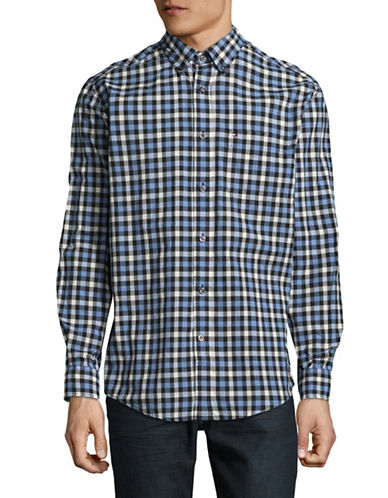 Tommy Hilfiger Plaid Cotton Sport Shirt-GREY-Small