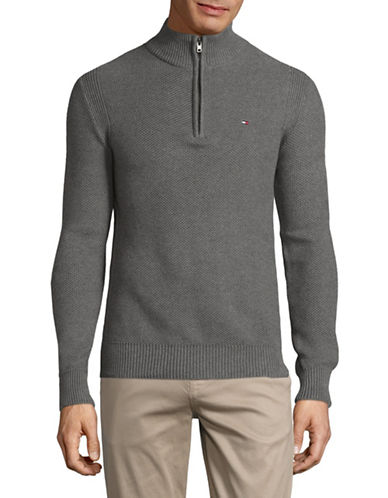 Tommy Hilfiger Mock Neck Cotton Pullover-GREY-Large