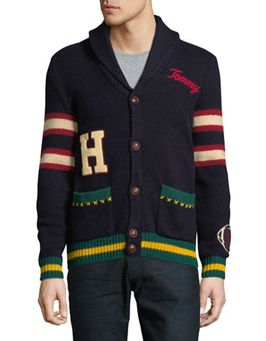 Tommy Hilfiger Embroidered Shawl Collar Jacket-BLUE-Large