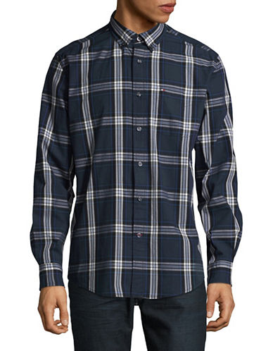 Tommy Hilfiger Plaid Cotton Sport Shirt-BLUE-Large