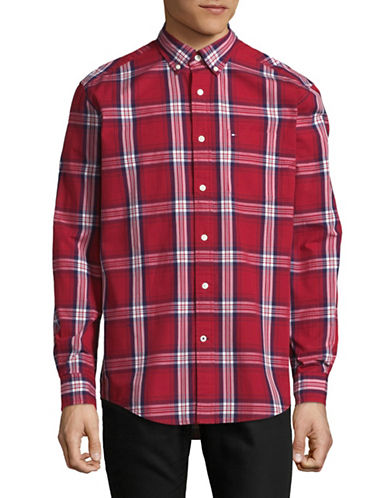 Tommy Hilfiger Plaid Cotton Sport Shirt-RED-Medium