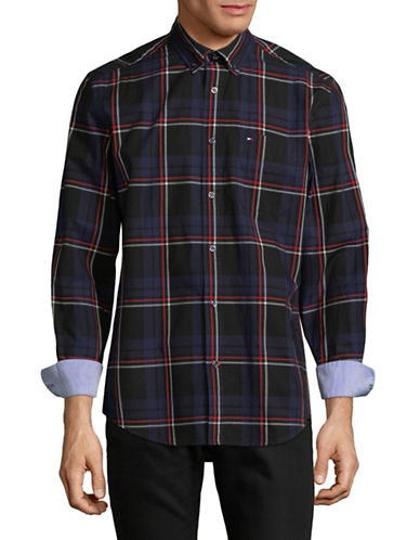 Tommy Hilfiger Darran Plaid Cotton Sport Shirt-BLUE-Small