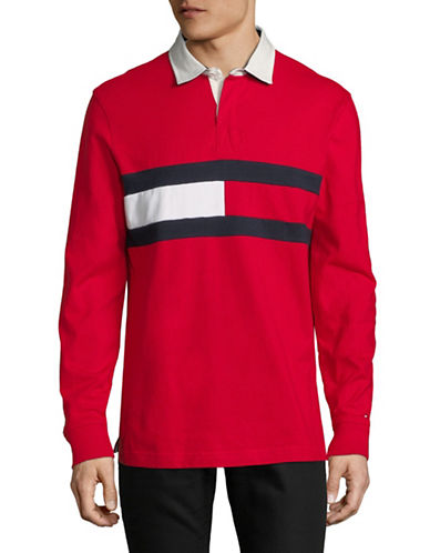 Tommy Hilfiger Jim Long-Sleeve Cotton Rugby Shirt-RED-Large
