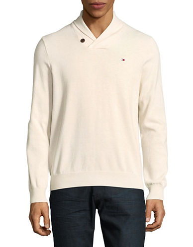 Tommy Hilfiger Signature Springfield Cotton Sweater-WHITE-Small