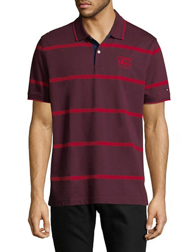 Tommy Hilfiger Striped Cotton Polo-RED-X-Large