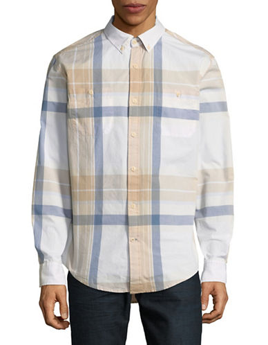 Tommy Hilfiger Lukin Plaid Cotton Sport Shirt-WHITE-X-Large