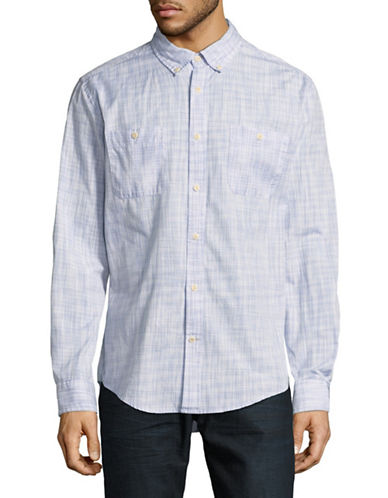 Tommy Hilfiger Davis Space Dye Cotton Sport Shirt-BLUE/GREY-XX-Large