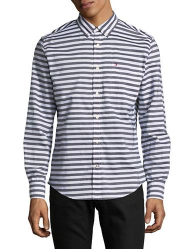 Tommy Hilfiger Striped Cotton Sportshirt-GREY-Small