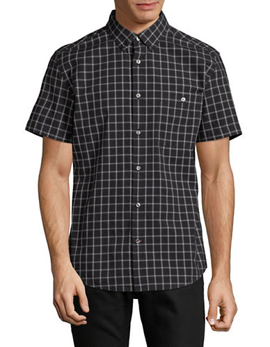 Tommy Hilfiger Glen Windowpane Shirt-BLACK-XX-Large