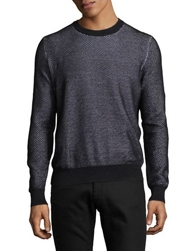 Tommy Hilfiger Textured Cotton Crew Sweater-BLACK/WHITE-X-Large