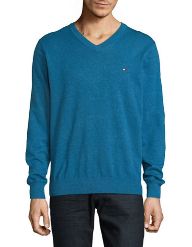 Tommy Hilfiger Pima Cotton V-Neck Sweater-BLUE-X-Large