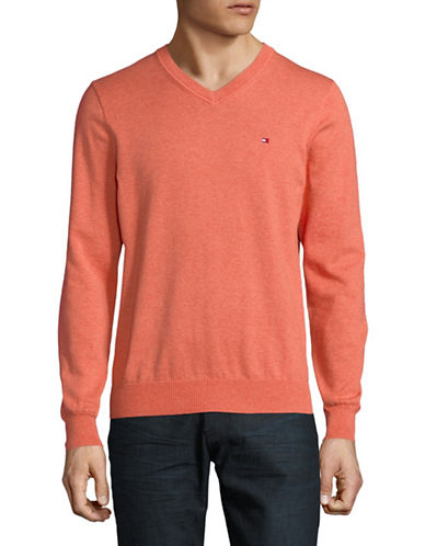 Tommy Hilfiger Pima Cotton V-Neck Sweater-ORANGE-Large