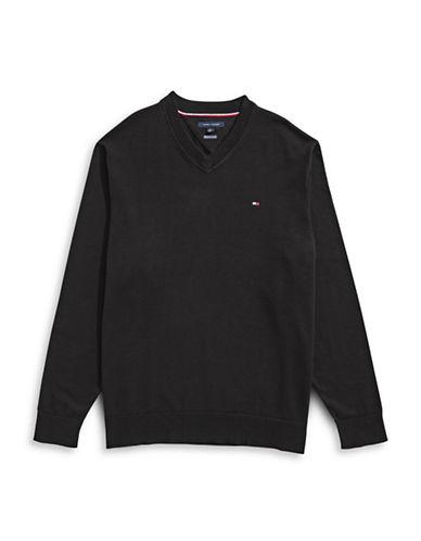 Tommy Hilfiger Signature Solid V-Neck Sweater-BLACK-5X Big