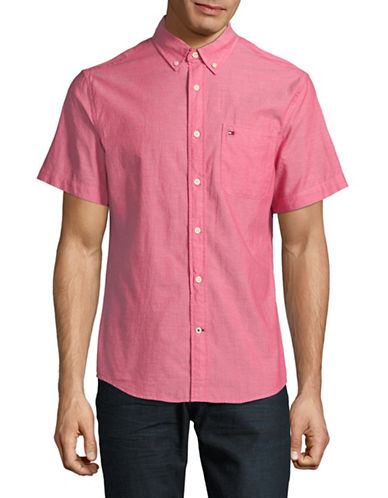 Tommy Hilfiger Wainwright Short Sleeve Cotton Shirt-CRANBERRY-Small