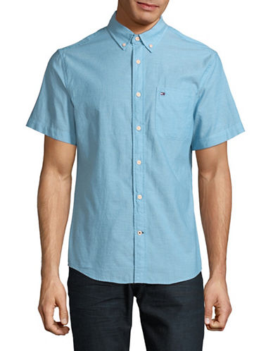 Tommy Hilfiger Wainwright Short Sleeve Cotton Shirt-BLUE-Large