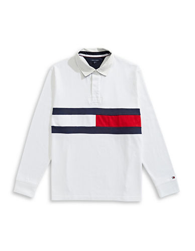 Tommy Hilfiger Jim Rugby Flag Long-Sleeve Cotton Polo-WHITE-3X Tall